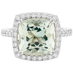5.39 Carat Green Beryl 18 Carat White Gold Diamond Halo Cocktail Ring