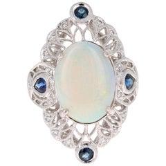 5.39 Carat Opal Diamond Victorian Style Platinum Cocktail Ring