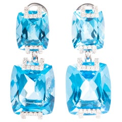 53.96 Carat Cushion Blue Topaz Diamond 18 Karat White Gold Dangle Drop Earrings