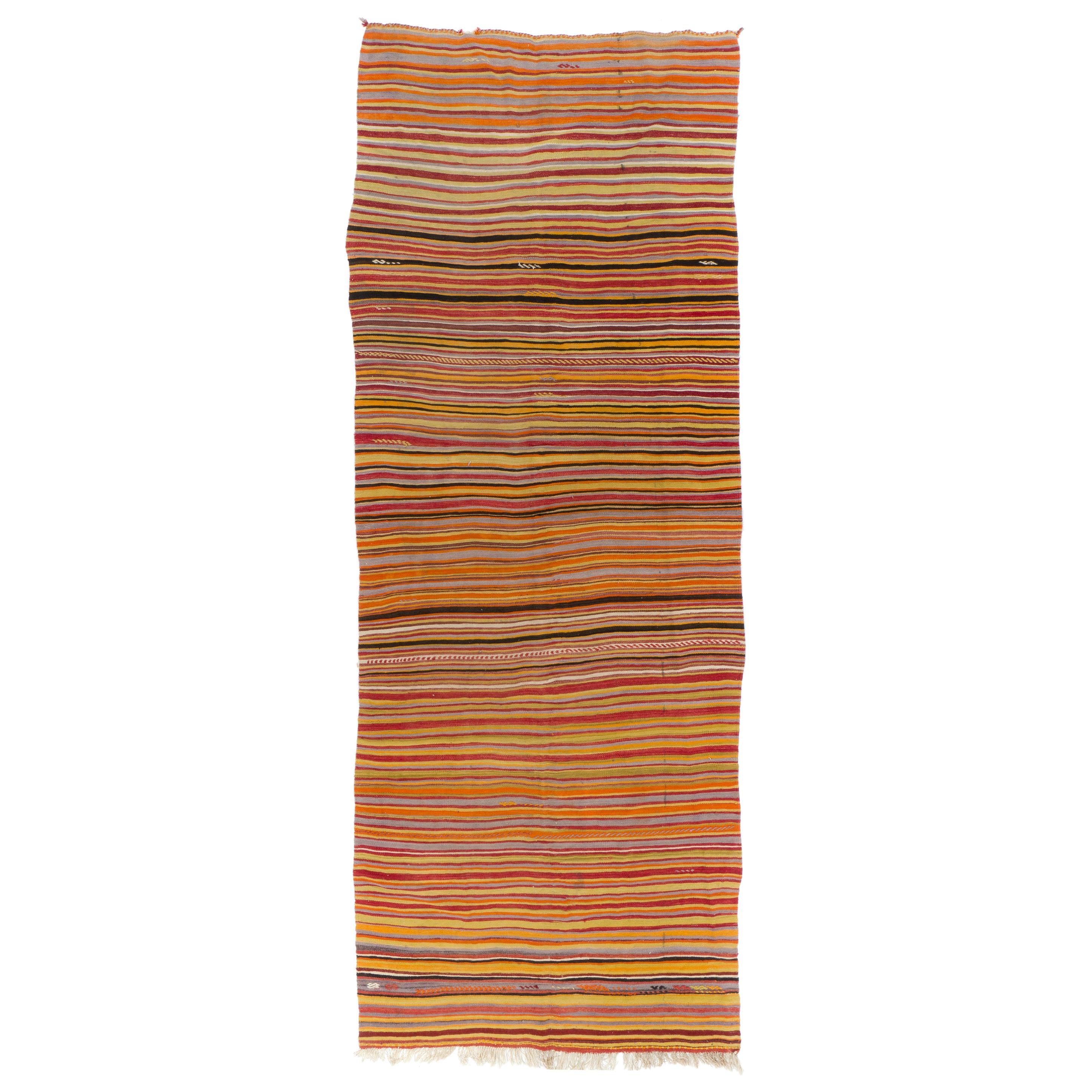 Banded Handwoven Vintage Turkish Runner Kilim 'Flat-Weave', All Wool