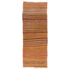 Banded Handwoven Vintage Turkish Runner Kilim 'Flat-Weave', All Wool