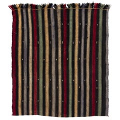 5.3x6 Ft Vintage Anatolian Kilim 'Flat-Weave' with Vertical Bands, 100% Wool