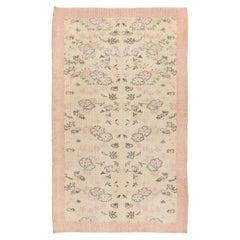 5.3x8.6 Ft Vintage Turkish Handmade Romantic Floral Rug in Pink and Beige