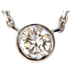 .54 Carat Natural Round Brilliant Diamond Solitaire Necklace i/vs2 14 Karat