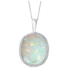 54 Carat Oval Ethiopian Opal and Diamond Pendant / Necklace 14 Karat White Gold