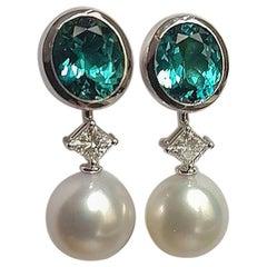 5.4 Carat Tourmaline 'Indicolite' Diamond Pearl Detachable Earrings