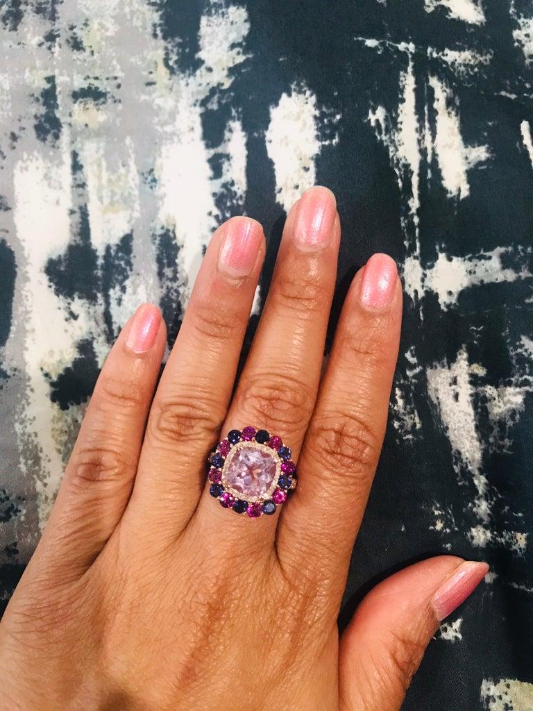 Women's 5.40 Carat Cushion Cut Amethyst Garnet Diamond 14 Karat Rose Gold Cocktail Ring For Sale