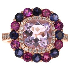5.40 Carat Cushion Cut Amethyst Garnet Diamond 14 Karat Rose Gold Cocktail Ring