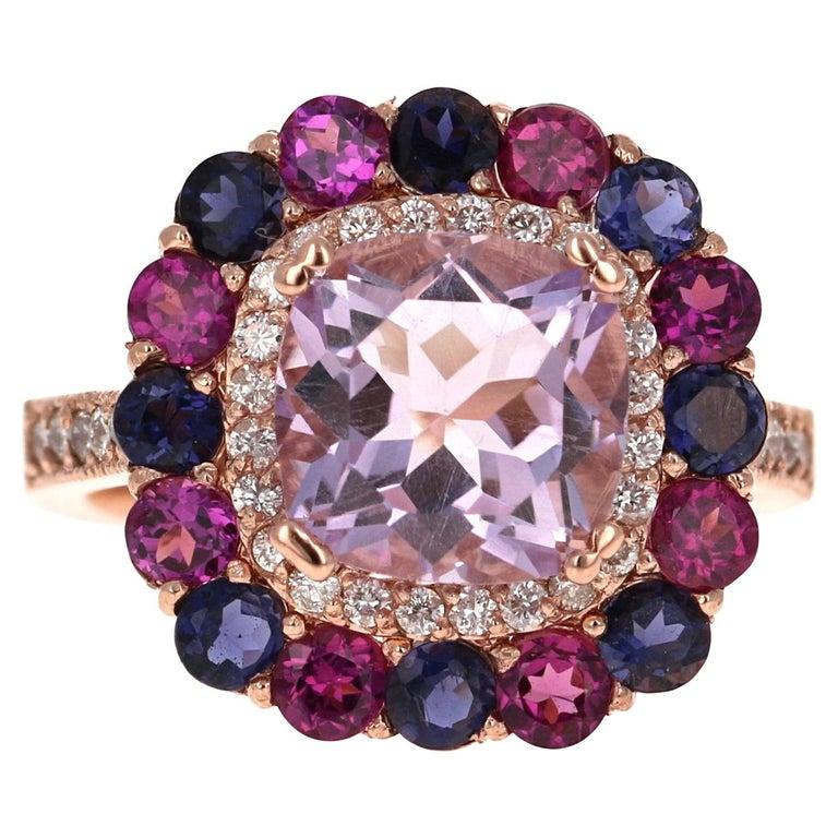 5.40 Carat Cushion Cut Amethyst Garnet Diamond 14 Karat Rose Gold Cocktail Ring For Sale