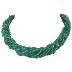 540 Carat Genuine and Natural Emerald Faceted with Gold Beads Choker Necklace