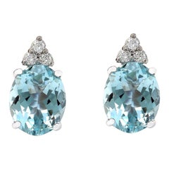 5.40 Carat Natural Aquamarine 18 Karat Solid White Gold Diamond Stud Earrings
