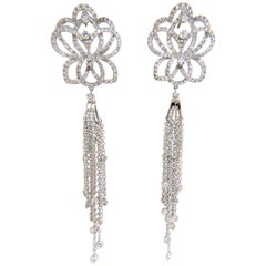 5.40 Carat Natural Diamonds Cluster Dangle Drop Earrings 18 Karat Gilt Deco