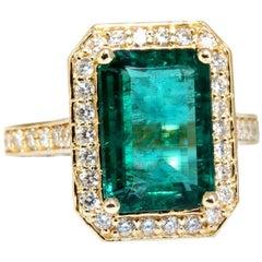 5.40 Carat Natural Vivid Green Emerald Diamonds Gilt Deco Ring 14 Karat