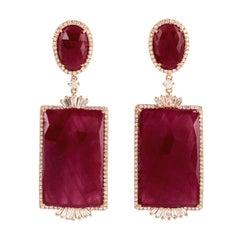 54.0 Carat Ruby Diamond 18 Karat Gold Earrings