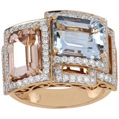 5.40 Carat Total Morganite and Aquamarine Ring with Diamonds in 18 Rose Gold