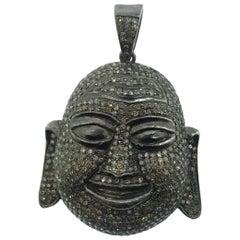 5.40 Carat Pave Diamond Buddha Pendant in Oxidized Sterling Silver
