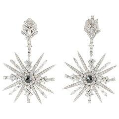 5.41 Carat 18 Karat White Gold Diamond Starburst Earrings