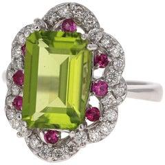 5.41 Carat Emerald Cut Peridot Sapphire and Diamond 14 Karat White Gold Ring