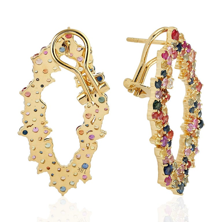 Modern 5.41 Carat Multi Sapphire 18 Karat Gold Earrings For Sale