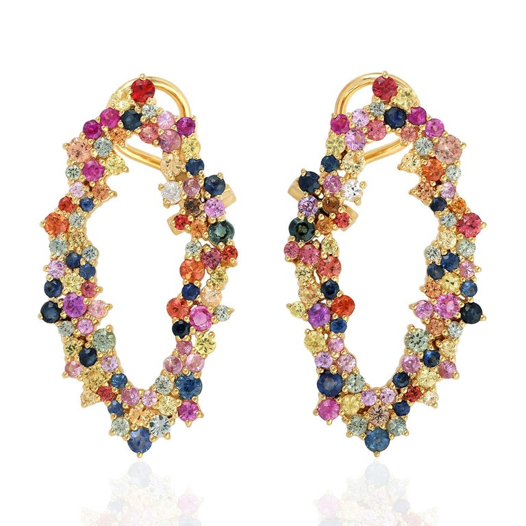 5.41 Carat Multi Sapphire 18 Karat Gold Earrings In New Condition For Sale In Hoffman Estate, IL