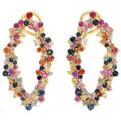 5.41 Carat Multi Sapphire 18 Karat Gold Earrings