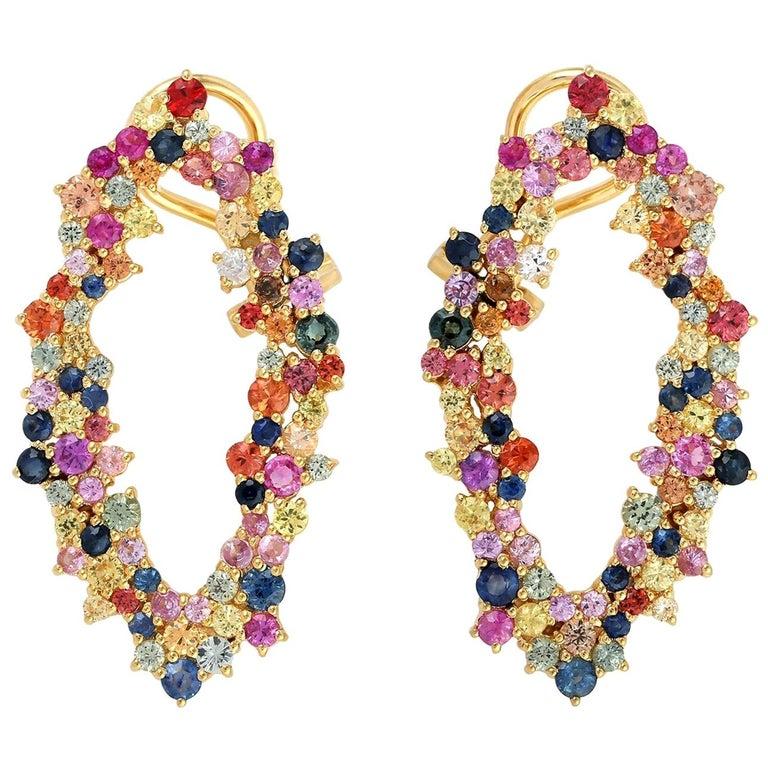 5.41 Carat Multi Sapphire 18 Karat Gold Earrings For Sale