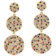 5.41 Carat Multi Sapphire 18 Karat Gold Tiered Drop Earrings