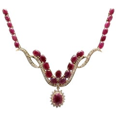 54.14 Carat Natural Red Ruby and Diamond 14 Karat Solid Yellow Gold Necklace