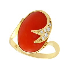 5.42 Carat Coral and Diamond Yellow Gold Dress Ring