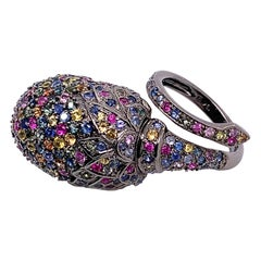 5.42 Carat Multi-Color Sapphire Wrap Around Floral Ring