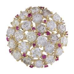 5.42 Carat Natural Diamond 18 Karat White Gold Ruby Ring