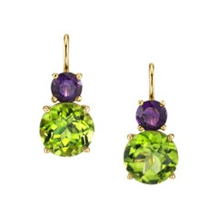 5.42 Carat Peridot with Amethyst 18 Karat Yellow Gold Earrings