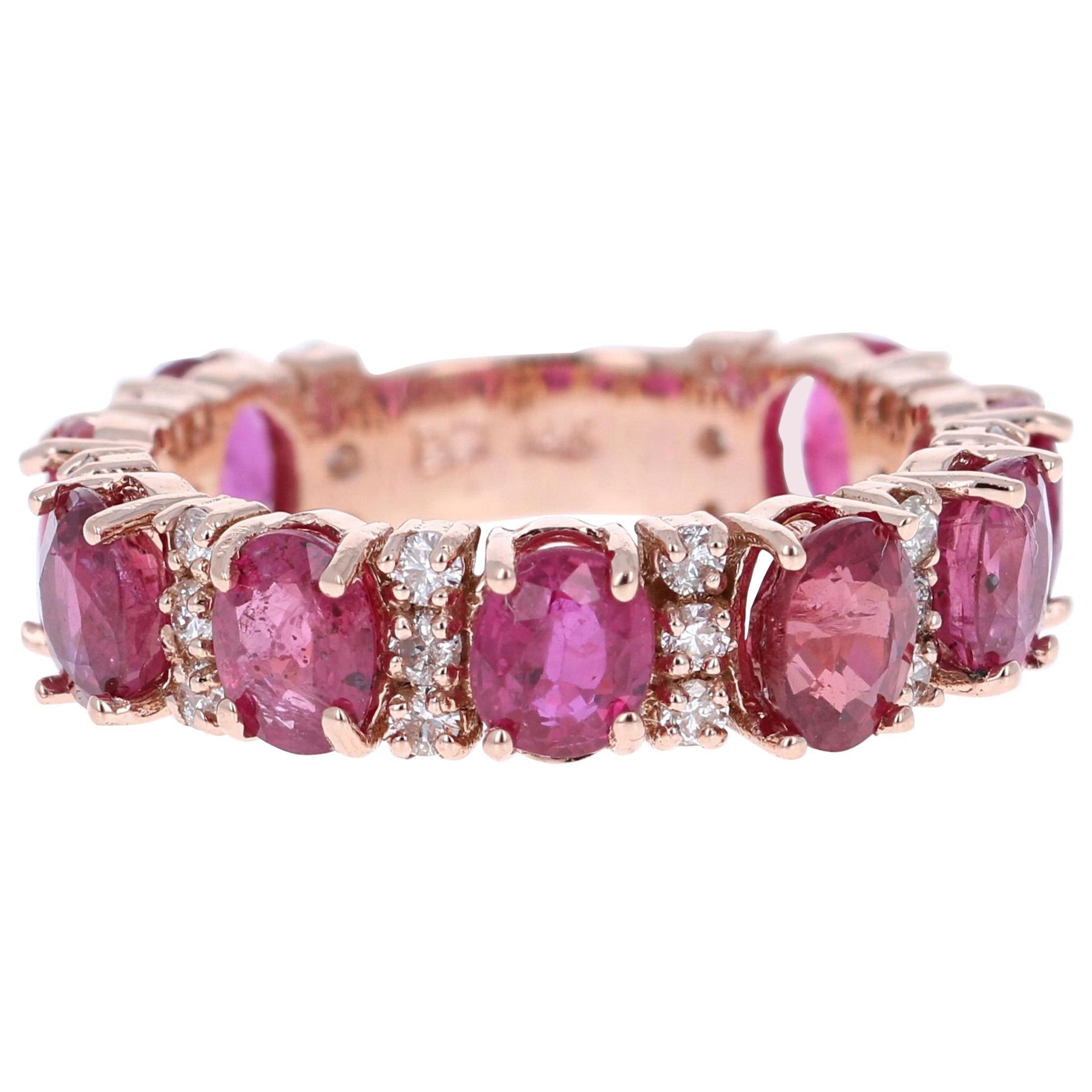 5.42 Carat Ruby Diamond 14 Karat Rose Gold Band