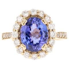 5.42 Carat Tanzanite Diamond 14 Karat Yellow Gold Ring