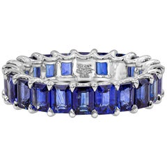 5.43 Carat Emerald Cut Blue Sapphire Eternity Wedding Band