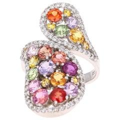 5.43 Carat Multicolored Sapphire Diamond 14 Karat White Gold Cocktail Ring