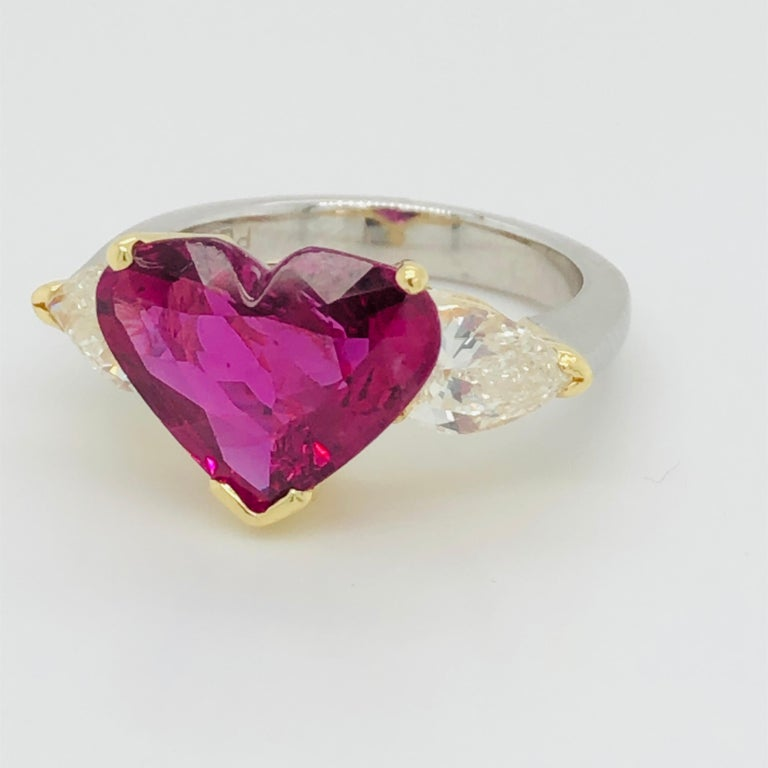Heart Cut 5.43 Carat Natural Ruby Heart Shape AGL Certified and 1.50 Carat Diamond Ring For Sale