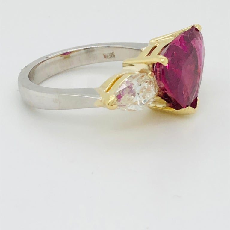 5.43 Carat Natural Ruby Heart Shape AGL Certified and 1.50 Carat Diamond Ring In Excellent Condition For Sale In Miami, FL
