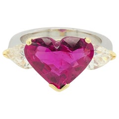 5.43 Carat Natural Ruby Heart Shape AGL Certified and 1.50 Carat Diamond Ring