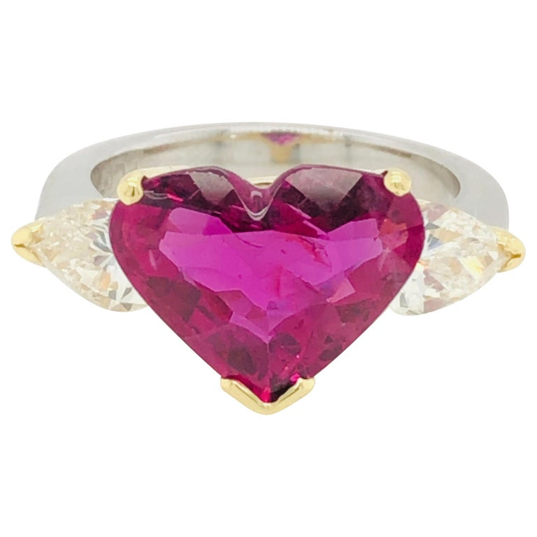5.43 Carat Natural Ruby Heart Shape AGL Certified and 1.50 Carat Diamond Ring For Sale