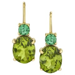 5.43 ct. Peridot, Tsavorite 18k Yellow Gold French Wire Lever Back Drop Earrings