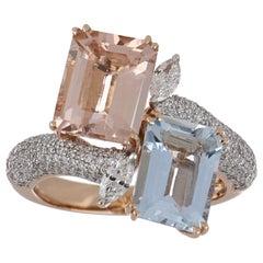 5.43 Carat Total Morganite and Aquamarine Ring with Diamonds in 14 Karat Gold