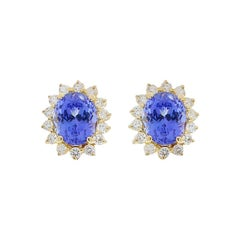 5.43 Carat Total Oval Tanzanite and Diamond White Gold Earrings