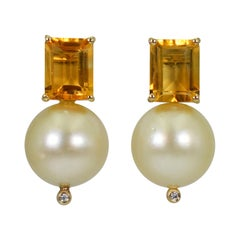 5.44 Carat Citrine, Champagne Pearl and Diamond 14 Karat Gold Drop Stud Earrings