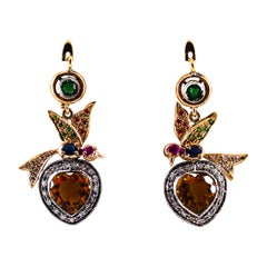 5.45 Carat Diamond Emerald Ruby Sapphire Citrine Yellow Gold Lever-Back Earrings