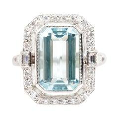 5.45 Carat Emerald Cut Blue Aquamarine and Diamond Platinum Cocktail Ring