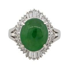 5.45 Carat Jade Cabochon Center Diamond Cocktail Ring Platinum in Stock