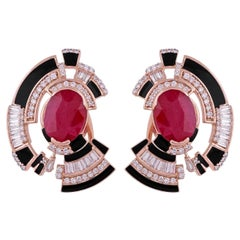 5.45 Carat Ruby Diamond 18 Karat Gold Art Deco Style Stud Earrings
