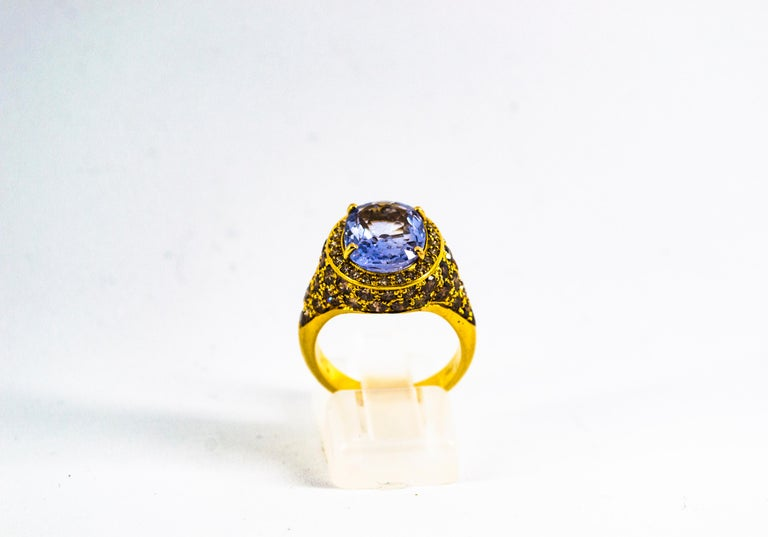 Art Deco 5.46 Carat Blue Sapphire 2.80 Carat Brown Diamond Yellow Gold Cocktail Ring For Sale