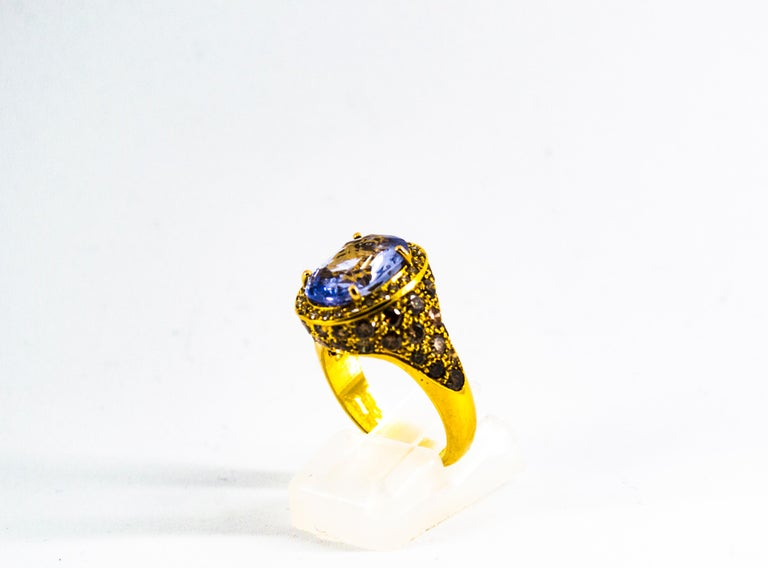 5.46 Carat Blue Sapphire 2.80 Carat Brown Diamond Yellow Gold Cocktail Ring In New Condition For Sale In Naples, IT